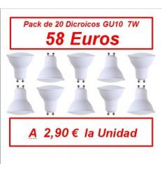 PACK DE 20 DICROICOS GU10 220V 7W 3000K